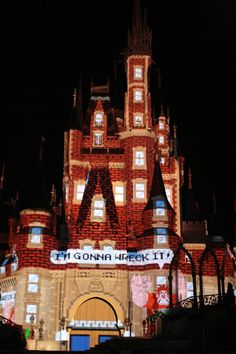 Wreck-It-Ralph projection on Cinderella's castle at Walt Disney World.