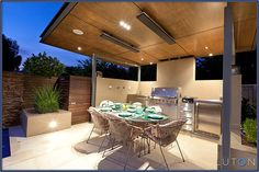 timber ceiling over deck with heating and lighting