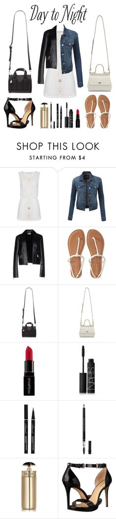 """Day to Night Romper"" by fleu-fou ❤ liked on Polyvore featuring Diane Von Furstenberg, LE3NO, Versace, Aéropostale, Forever 21, Dolce&Gabbana, Smashbox, NARS Cosmetics, Christian Dior and Prada"