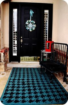Stencil an area rug using the Houndstooth Stencil from Cutting Edge Stencils. http://www.cuttingedgestencils.com/wall_stencil_houndstooth.html