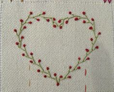 ~ Heart made of Feather stitch and Colonial Knot… Great Embroidery Site! ~ Heart made of Feather stitch and Colonial Knot Embroidery Hearts, Simple Embroidery, Hand Embroidery Stitches, Silk Ribbon Embroidery, Hand Embroidery Designs, Embroidery Techniques, Embroidery Applique, Cross Stitch Embroidery, Embroidery Tattoo
