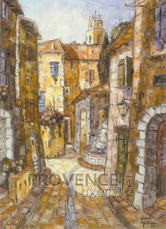 """Rue du Lavoir (Ref/GIR027) by Philippe Giraudo - Reproduction 70 x 50 cm (19.75"""" x 27.60"""") - $ 24.99 Reproduction, French Riviera, French Artists, Rue, Painting, Painting Art, Paintings, Painted Canvas, Drawings"""
