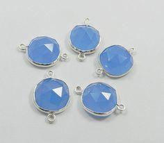 5 PCS 925 silver double loop BLUE CHALCEDONY gem nice connectors, Wholesale Lots #Handmade