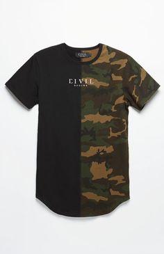 bfa0e3fa7a4 Rebel Youth Camo Split Drop T-Shirt Camo Tee Shirts