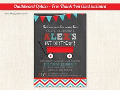 Little Red Wagon Birthday Party Invitations by MyExpressionInvites
