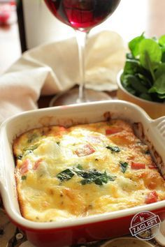 Breakfast - Creamy, low-carb Crustless Spinach Quiche for One made with salty ham and Swiss cheese. Full of flavor, you'll never even miss the crust! | zagleft.com
