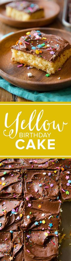 Birthday yellow sheet cake recipe with chocolate frosting and sprinkles! Big cake serves 25 for parties! sallysbakingaddic...