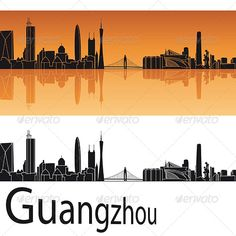 Guangzhou Skyline in Orange Background