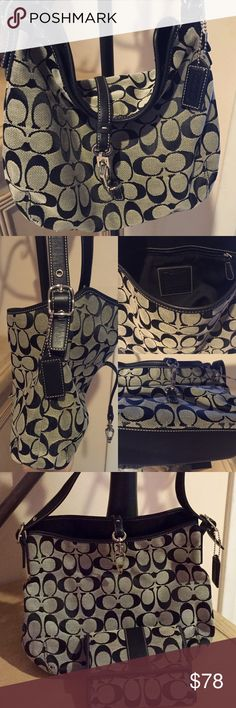 "COACH PURSE & WALLET Beautiful, Authentic black & white ""CC"" Coach purse & wallet. It's like new condition, EXCELLENT condition. Lightly loved; Maybe lightly carried 5 times. Smoke & pet free home. Matching WALLET listed separately as well. Last Call: Offers made, I counter my BEST & FINAL. **Negotiable on ♈️INTED** & will list there by request. Coach Bags Totes"