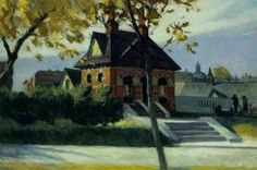 Edward Hopper Small Town Station painting, oil on canvas & frame; Edward Hopper Small Town Station is shipped worldwide, 60 days money back guarantee. Anselm Kiefer, American Realism, American Artists, Malcolm Liepke, Manet, Edouard Vuillard, Edward Hopper Paintings, Ashcan School, Impressionism
