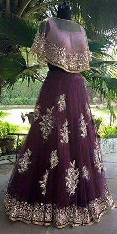 Ornate Purple Gown with Shawl Top