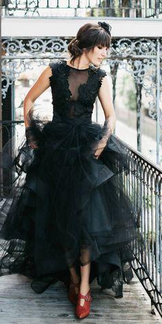 33 Beautiful Black Wedding Dresses That Will Strike Your Fancy--Wedding dress Black Wedding Gowns, Fancy Wedding Dresses, Prom Dresses With Sleeves, Wedding Dress Styles, Lace Wedding, Green Wedding, Bridesmaid Dresses, Wedding Shoes, Trendy Wedding
