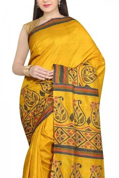 Buy Online Yellow Hand Painted & Kantha Stitch Soft Silk Saree . India's Best Ethnic Wears & Wares www.EthnicKart.com