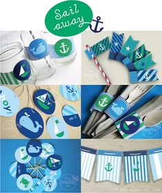 """Sail Away"" Free Printables ~    Blue and green nautical party printables to make a unique party celebration for boy baby shower or birthday! When the party is over, use the nautical banner to decorate a child's or baby's room too!"