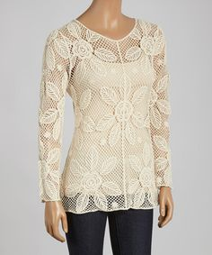 Another great find on #zulily! Natural Sheer Lattice V-Neck Top by Simply Irresistible #zulilyfinds
