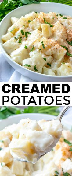 Easy, creamy and flavorful these old-fashioned Creamed Potatoes are the perfect side dish to any meal. A real comfort dish that the family will love. #potatoes #sidedish #easyrecipe #russet #parsley #quickrecipe #creamy  via @amiller1119