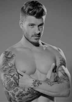 love this men's cut and style...plus his ink is pretty rad!