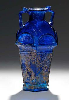 (c. 1-100 CE) Blue Roman Glass Bottle