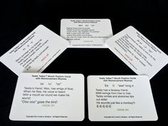 Mouth Position Cards with Reinforcement  Rhymes-examples of poems to support phoneme production.  You'll find these cute poems in printable form from the Teddy Talker® Teach Together Toolkit, too!    Work with families on rhyming!