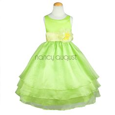 Lime Organza Flower Girl Dress: This elegant lime organza flower girl dress features a sensational sleeveless style with a triple layer skirt. This beautifully simple white organza tea length dress comes with a adjustable sash tie in the back. Like many of our special occasion dresses, it is versatile and can be used as a flower girl dress, pageant dress, or as a first communion dress. No matter the occasion, this will make your little flower girl even more adorable and irresistibly…