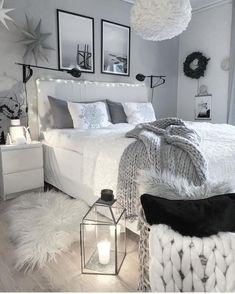 Cute Bedroom Decor, Room Design Bedroom, Stylish Bedroom, Small Room Bedroom, Room Ideas Bedroom, Diy Bedroom, Adult Bedroom Ideas, Bedroom Inspo, Cosy Grey Bedroom