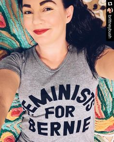 #Repost @brittneybush with @repostapp.  Thanks @printliberation! Fave new shirt. #feelthebern #bernie2016 #feministsforbernie by feministsforbernie