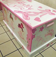 Ballerina Toy Box Personalized Custom designed hand painted and hand made wooden chest
