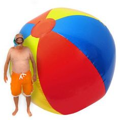 So what would you do with a beach ball the measures 10 feet in diameter when inflated?   How about have the greatest beach or pool party ever!  One that people would be talking about for years one that would make you go down in history as the greatest party host EVER?!Easily blow it up with an air compressor or pump (not included).  Heavy/durable construction.