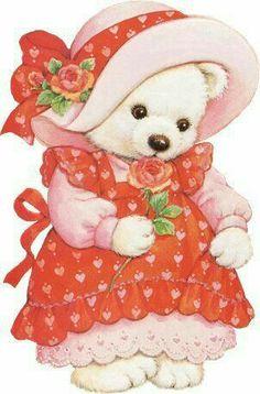 """Pretty Teddy Bear in Her Pretty Dress and Hat. """"Teddy Bears"""""""