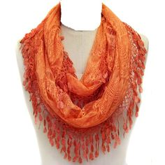 Women's Lace Infinity scarf with Fringe lightweight (Orange) TitFus http://www.amazon.com/dp/B00ISWQNKS/ref=cm_sw_r_pi_dp_GEDStb1M02DH6KXH