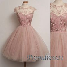 Pretty light pink tulle short party dress, vintage prom dress for teens, beaded…
