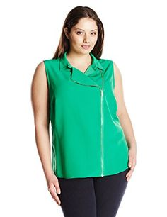 83e0d13ec2 online shopping for Calvin Klein Women s Plus Size Moto Blouse With Zips  from top store. See new offer for Calvin Klein Women s Plus Size Moto  Blouse With ...
