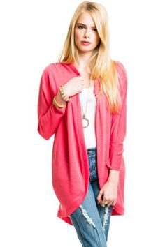 $16 at www.heavenlycouture.com Lace Back Shawl Cardigan in Coral