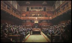 See Banksy's Devolved Parliament on display in the Front Hall of Bristol Museum & Art Gallery. The displays marks 10 years since Banksy Vs Bristol Museum. Banksy Graffiti, Banksy Canvas, Bansky, Street Graffiti, Banksy Paintings, Banksy Artwork, Damien Hirst, Large Painting, Artist Painting
