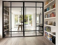 kamer ensuite modern at DuckDuckGo Interior Architecture, Interior And Exterior, Style At Home, Steel Doors And Windows, Metal Windows, Glass Room Divider, Room Dividers, Home Fashion, Home Deco