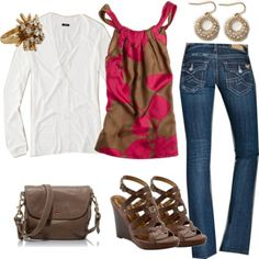 Engagement Picture Outfit -- I like the idea of dressing up an outfit with a more flowy top and wedges.