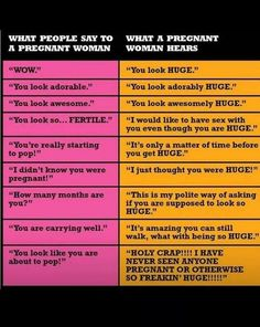 What people say, and what #pregnant women hear. One word: HUGE! Lol.