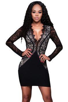 Black Scalloped Lace Dress