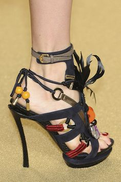 Louis Vuitton tribal inspired Stiletto Sandal Spring 2009 #LV #Shoes #Heels