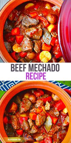 This beef mechado recipe is similar to other Filipino tomato-based dishes as well. Saute onion and garlic into the pan, then add the beef and saute once more until the beef's color turns brownish.
