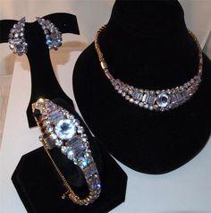 Z Vtg Signed Kramer Alexandrite Rhinestone Necklace Bracelet Earrings Set Parure | eBay