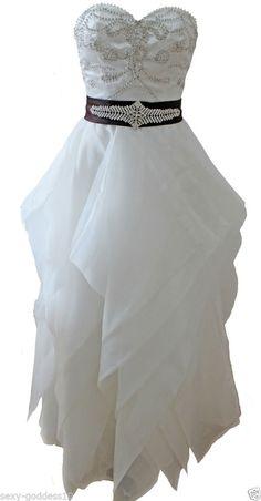 FairOnly Custom Made Pearl Black Sash Tiered Asymmetric Bridal Wedding Dresses