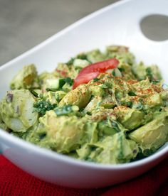 Guilt free healthy ;)  CREAMY AVOCADO POTATOSALAD  This one is yummy ! I use red Bell pepper/ sweet pepper instead of tomatoes and a dash of onionpowder. Not fresh onion !!!