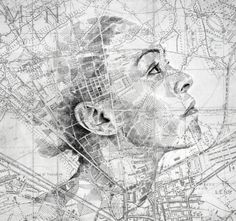 Putting your face on the map holds an entirely different meaning to artist and illustrator Ed Fairburn. The English creative unleashes his talents on vintage road maps and star charts, using them as canvases for expressive cross-hatched portraits. Roads, borders, and rivers are filled with shaded regions and patterns that make up each portrait and give the effect of something secretly hidden in the topography.  Fairburn will be exhibiting his work at the Mike Wright Gallery in Denver.