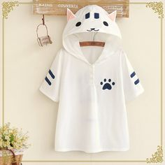 White/Gray Kawaii Cat Summer Hoodie Shirt SP166968