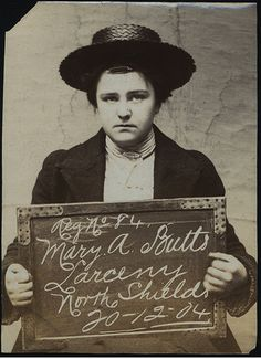 Mary A. Butts was arrested for larceny at North Shields Police Station on December 20, 1904