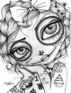 Amelia Day of the Dead - Dottie Gleason: // coloring page for grown ups, adult coloring book pages // creepy art Skull Coloring Pages, Coloring Book Pages, Coloring Pages For Grown Ups, Sugar Skull Art, Sugar Skulls, Geniale Tattoos, Illustration, Lowbrow Art, Adult Coloring