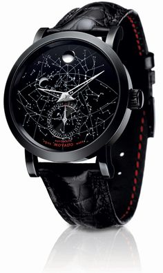 The Movado Red Label Skymap limited edition automatic wrist watch. cool background