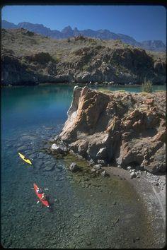 Sea kayaking off Baja coast