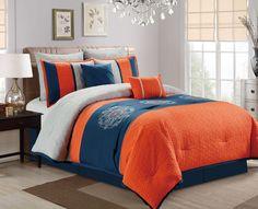 8 Piece Embroidered Paisley Navy/Orange/Gray Comforter Set